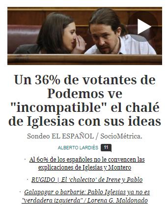Pablo Iglesias Irene Montero casa 600.000 euros encuesta opinión Podemos
